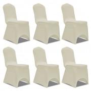vidaXL Еластични калъфи за столове, кремави – 6 броя