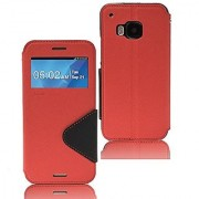 Roar- Super Slim PU Leather/ Diary Wallet View Case for HTC One M9 (Red/Black)