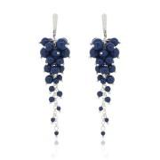 Cercei argint perle Swarovski ciorchine albastru lapis