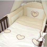 3 piezas ropa de cama de bebé de juego de copas de (cartucho de tinta para ajuste de uno o dos cama y espuma con funda extraíble y espuma con funda extraíble) - diseño de bordado de copos de nieve y corazones crema Talla:cuna - 140 x 70 cm