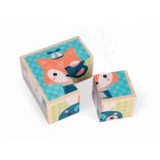 Janod cuburi de poveşti din lemn Animale de pădure Baby Forest 4 bucăţi 08000