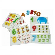 TOYMYTOY Number Puzzles Wooden Numbers Puzzle with Animals Matching Memory Puzzles Cards