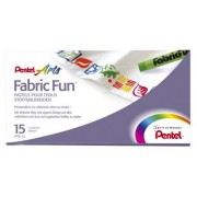 Pentel PTS-15 Boite de 15 Pastels pour Tissus Couleurs Assorties