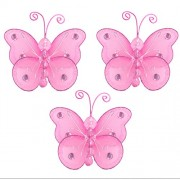 "Butterfly Decor 3"" Dark Pink (Fuchsia) Mini (X-Small) Wire Hanging Nylon Butterflies 3pc set. Decorate Baby Nursery Bedroom, Girls Room Ceiling Wall Decor, Wedding, Birthday Party, Bridal Baby Shower. Decorations Crafts, Scrapbooks, Invitations, Parties"