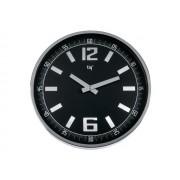 Ceas rotund de perete, D-300mm, cifre arabe, TIQ - rama metal/plastic gri - dial negru