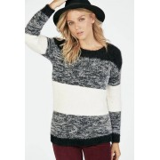 JustFab Cozy Colorblock Pullover Femme Couleur Noir Taille M JustFab