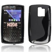 S Case Anti-skid Soft TPU Back Case Cover for Nokia Asha 205 (Black)