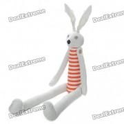 Fabric Art Rabbit Style Doll Toy with Long Feet - White + Orange (Posture Adjustable)