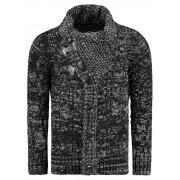 Pánský luxusní svetr vlněný 0719 s kapsami černý - L