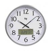 Ceas rotund de perete, D-360mm, cifre arabe + afisaj - data, zi, temperatura, TIQ - rama plastic argintie