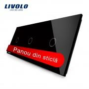 Panou intrerupator simplu+simplu+simplu cu touch Livolo din sticla, negru
