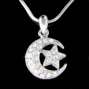Swarovski Crystal Crescent Moon Star Flag Charm Pendant Necklace
