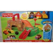 Fisher-Price - W1744 - Little People - Wheelies - Play 'n Go Construction Site / Obra de construcción - con 3 vehículos