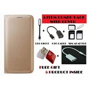 Panasonic P55 Novo Flip Cover Case With Free Led, Otg Cable, Card Reader, Sim Adapter and Earphone Splitter By Vinnx - Golden