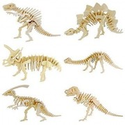 Wisdomtoy 3D Wooden Simulation Animal Dinosaur Assembly Puzzle Model Toy For Kids And Adults 6-Piece Set