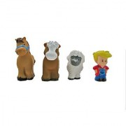Little People Animal Sounds Farm / Zoo Figures (Set of 4 - Farmer Horse Cow and Sheep)