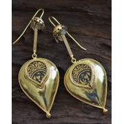 Gold-Printed Colored Glass Silver Earrings