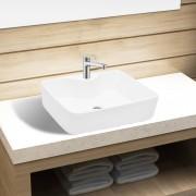 vidaXL Pia de cerâmica para banheiro + furo torneira quadrado branco