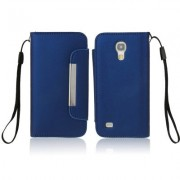 So Fit Series Leather Case with Credit Card Slots & Lanyard for Samsung Galaxy S IV mini / i9190 (Dark Blue)