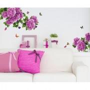 Vinyl Flowers Purple Antique Peony Sofa Backdrop Wall Decal
