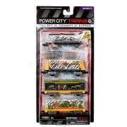 Jakks Pacific Year 2013 Power City Trains Series 4 Pack Train Accessory Set - King Safari Park SAFARI FREIGHT with Flatbed Trailer with Removable Helicopter Freight Car with Removable Rocks Cage Car and Gator Tanker