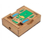 On The Greens: Wooden Klotski Sliding Golf Block Puzzle - Handmade Wooden Puzzles for Adults by SiamMandalay with Free SM Gift Box(Pictured)