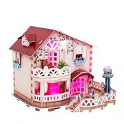 CubicFun Holiday Bungalow Dollhouse 3D Puzzle 114 Piece With Led Lights