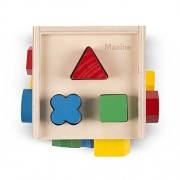 Melissa & Doug Personalized Shape Sorting Cube Classic Wooden Toy with 12 Shapes
