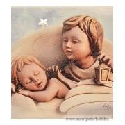Exkluzív faplakett ezüst díszítéssel-angyalok