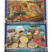 Bundle of 2 Puzzlebug 500 Piece Puzzles by LPF: Colorful Fruit Stand ~ Cupcakes Fresh from the Farm