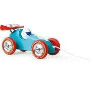 Vilac 16 x 9 x 9 cm, de color turquesa con forma de coche de carreras de juguete de arrastre
