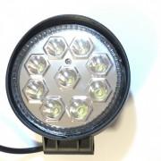 Proiector LED Auto Offroad 9 LEDuri 27W 12V/24V Rotund Lentila Silver