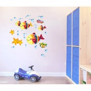 Wall Stickers Baby Room Crib Background Design Cute Colorful Fishes With Bubbles Cradle Decor