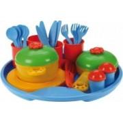 Set tacamuri si oale plastic Lena jucarii plastic 27 piese Belle Cuisine