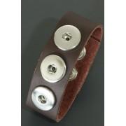 Leren click button armband bruin