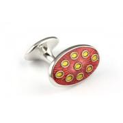 Mousie Bean Enamelled Cufflinks Oval Dots 135 Orange & Yellow