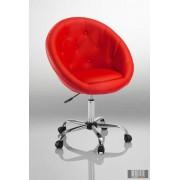 Elegáns guruló bárfotel, kozmetikus szék, fordrász szék, piros