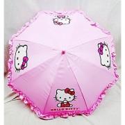 Sanrio Girls Umbrella With 3D Hello Kitty Figurine Handle Applique 20 Pink