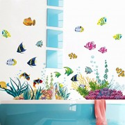 AWAKINK TM Under the Sea Decals The Deep Blue Sea Fishes Decorative Peel Vinyl Wall Stickers Wall Decals Removable Decors for Bedrooms Kids Rooms Baby Nursery Boys and Girls Bedroom