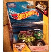 Monster Jam Grave Digger Edge glow roll cage #55 with monster jam figure Rare and hard to find item by Hot Wheels