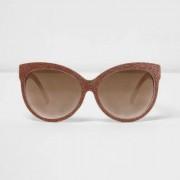 River Island Womens Gold glitter oversized sunglasses