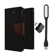 First 4 Covers For Samsung Galaxy Grand Prime Flip Cover Diary Case Free LED Light & OTG (Brown)