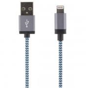 STREETZ USB-synk-/laddarkabel, MFi, Lightning, 2m, blå