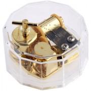 Magideal Acrylic Dodecagon Shape Clockwork Music Box Melody Play Box Kids Gift Memory