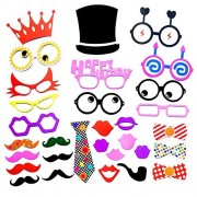 Party Photo Booth Props Diy Kit,Paper Prop On A Wood Stick for Taking Funny Photos On Birthday,Wedding,Reunions,Dress-up Costume Accessories with Mustache,Hats,Glasses,Lips,Bowties,31 Pcs