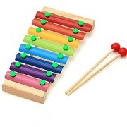 Petmall Wooden 8 Notes Xylophone Musical Instrument For Children Portable Music Toys For Kids Baby With 2 Wood Mallets