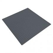 Katara - Base di Costruzione Compatibile con Classic Lego/ Q-Briques/ Asmodee/ Sluban, Piattaforma di Costruzione per Giochi con Mattoncini, per Giochi Creativi e Divertenti, Dimensioni 25,5 x 25,5cm, griggio scuro