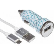 Incarcator auto Trendz Bullet 2.1A Ditsy Floral + cablu microUSB - USB
