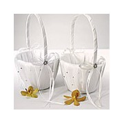 Scattered Pearls & Crystals Flower Girl Basket