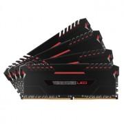 Memorie Corsair Vengeance LED 64GB (4x16GB) DDR4, 3200MHz, 1.35V, CL16, Dual Channel Quad Kit, Red LED, CMU64GX4M4C3200C16R